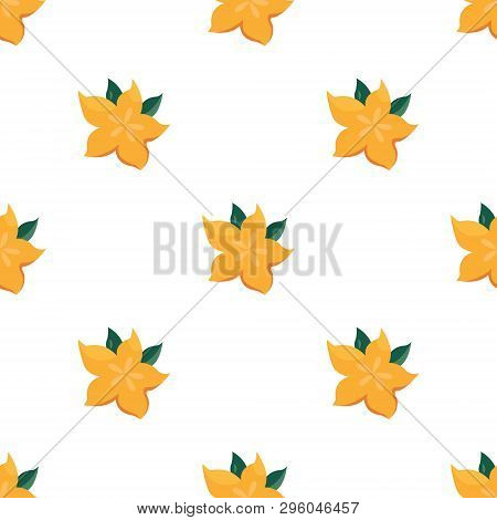Seamless Pattern With Bright Yellow Starfruit. Suitable For Gift Box, Wrapping Papers, Banners, Fabr