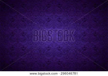 Purple, Violet, Violaceous, Background, Pattern, Damask, Baroque, Wallpaper, Floral, Vintage, Amethy