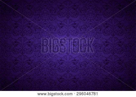 Purple, Violet, Violaceous, Background, Pattern, Damask, Baroque, Wallpaper, Floral, Vintage, Amethy