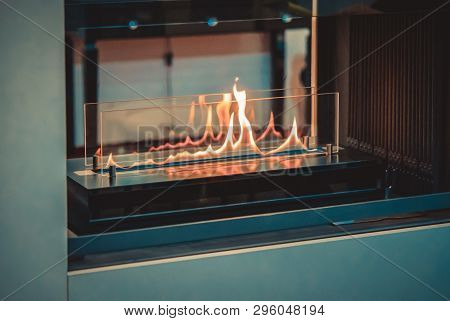 Contemporary Mount Biofuel On Ethanol Fireplot Fireplace Close-up.