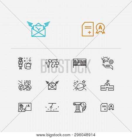Distant Education Icons Set. Organic Chemistry And Distant Education Icons With School Girl, Learnin