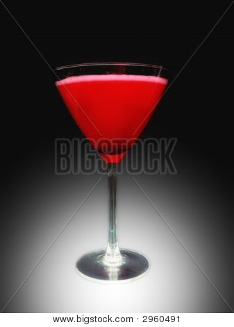 martinin glass with red cocktail black & white background poster