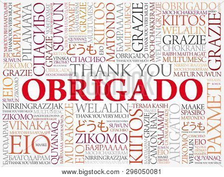 Obrigado (thank You In Portuguese) Word Cloud Background, All Languages, Multilingual For Education