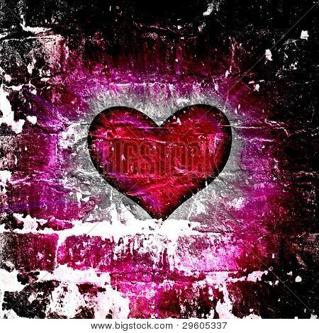 red heart with rays on a black background, abstract