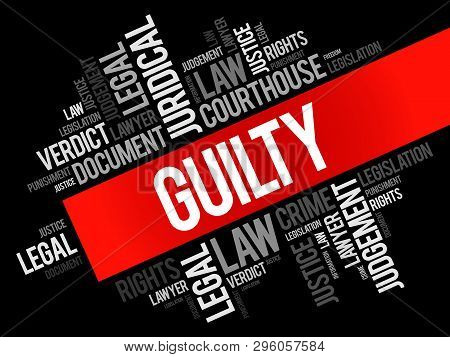 Guilty Word Cloud Collage, Law Concept Background