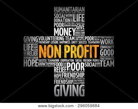 Non Profit Cross Word Cloud Collage, Social Concept Background