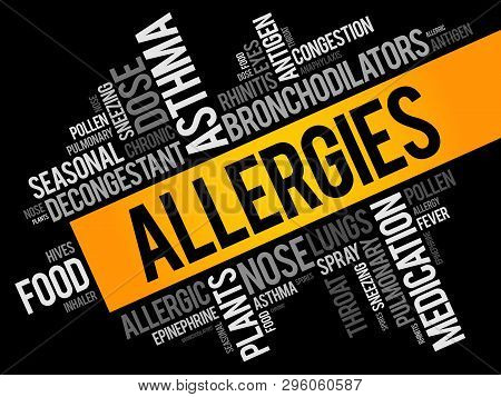 Allergies word cloud collage, health concept background poster