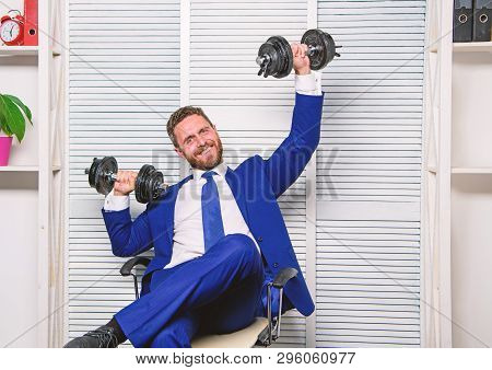 Good Job Concept. Boss Businessman Office Manager Raise Hands With Dumbbells. Boost Business. Boost