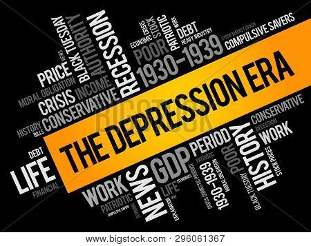 The Depression Era Word Cloud Collage, Education Concept Background