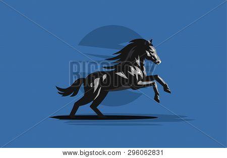 Muscular Frisky Horse Galloping Background. Vector Illustration.