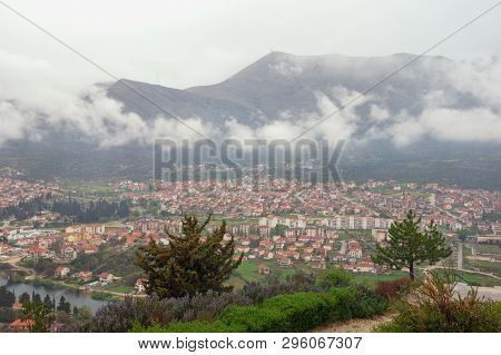 View Of Trebinje City From Crkvina Hill On Rainy Spring Day. Bosnia And Herzegovina, Republika Srpsk