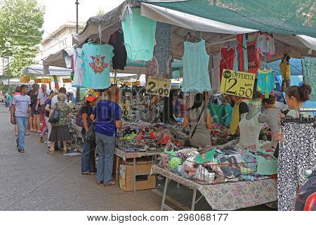 Rome, Italy - June 30, 2014: Street Market Stalls With Cheap Clothing In Rome, Italy.
