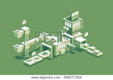 Conveyor Manufacturing Process Vector Illustration. Automated Factory