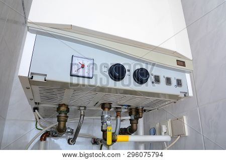 Connection Of Home Water Heater. Domestic Double-circuit Gas Boiler Plumbing Connections