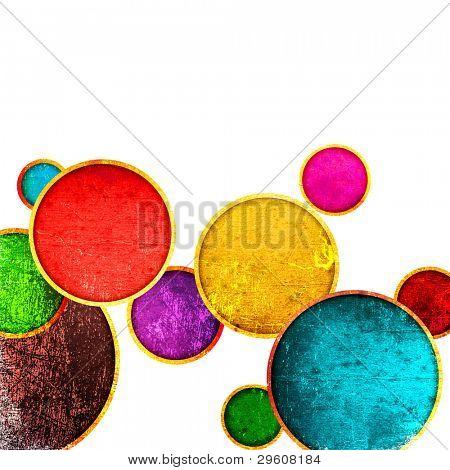 Grunge bunte Kreise auf weißem Hintergrund