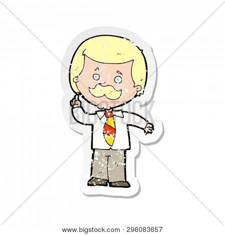 retro distressed sticker of a cartoon newsreader man with idea