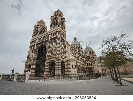 Enormous Marseilles Cathedral, One Of The Largest Cathedrals In France, In A Cloudy Day