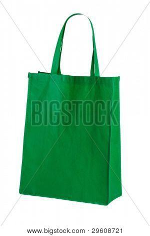 bolsa de algodón verde sobre fondo blanco aislado