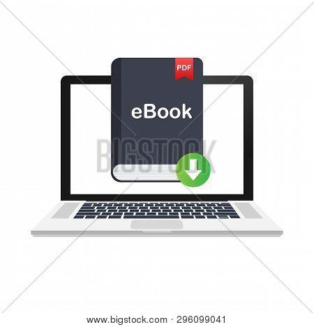 Download Book. E-book Marketing, Content Marketing, Ebook Download On Laptop. Vector Stock Illustrat