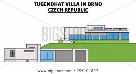 Tugendhat Villa In Brno , Czech Republic ,  Travel Skyline Vector Illustration.