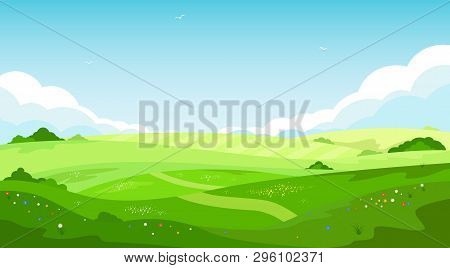 Rural Landscape With Green Hills And Blue Sky In Cartoon Style. Ecotourism And Countryside Vacation.
