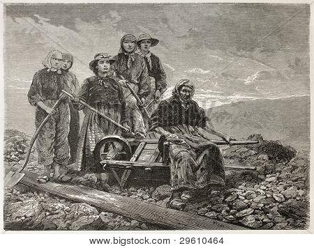 Coal sorters women old engraved portrait (Le Creusot, France). Created by Neuville after photo of unknown author, published on Le Tour du Monde, Paris, 1867