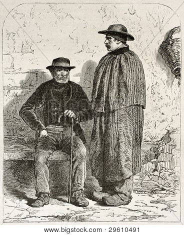 Pierre Lhote and his father Garnier old engraved portrait, miners in Epinac, France. Created by Neuville after photo of unknown author, published on Le Tour du Monde, Paris, 1867