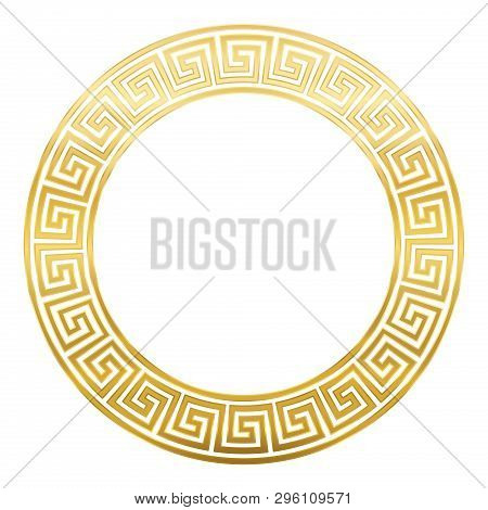 Meander Design Circle Frame With Seamless Pattern. Golden Meandros, A Decorative Border, Constructed
