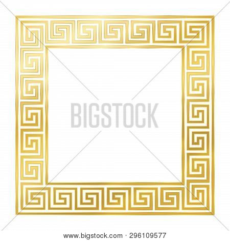 Square Meander Frame, Seamless Goldenb Pattern. Meandros, A Decorative Border, Constructed From Cont