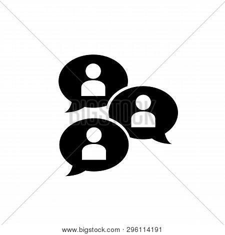Group Chat Bubbles Or Forum Discussion With Multiple People Chatting Flat Vector Icon For Apps Websi