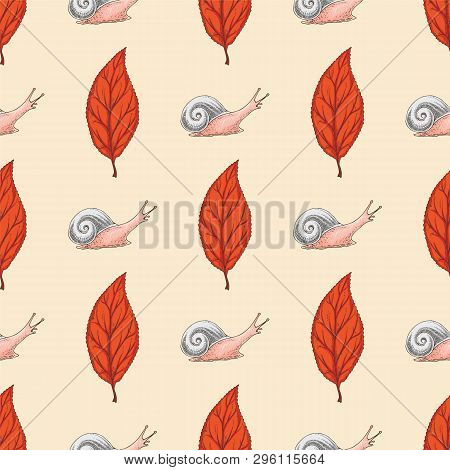 Seamless Pattern With Red Dried Beech Leaf And Snails On Beige Background