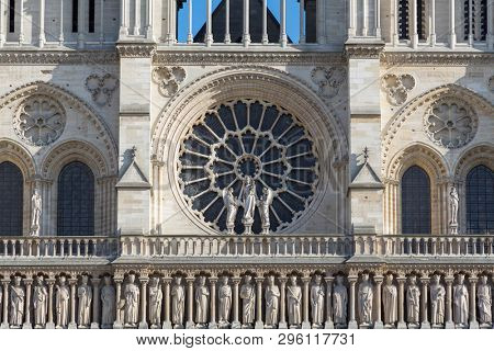 Detail of the front facae of the historic two towers of the Notre Dame Cathedral in Paris, France.