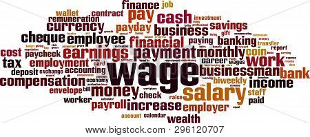 Wage Cloud Concept. Collage Made Of Words About Wage. Vector Illustration