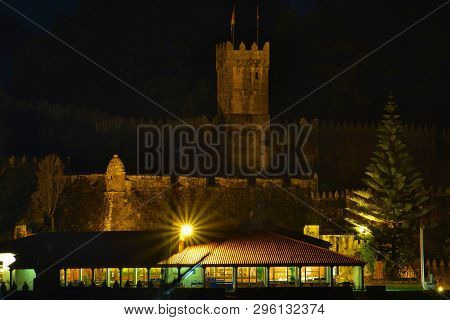 Night Landscape Of Baiona Town In Galicia