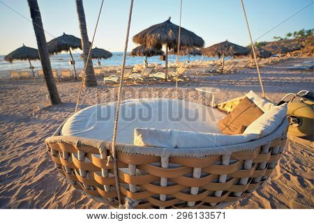 Punta Mita, Mexico. April 10, 2019 - A Comfortable Beach Lounge Chair At The Four Seasons Resort And