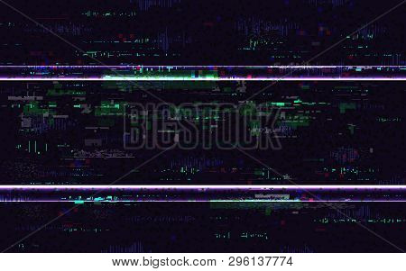 Glitch No Signal. Digital Distortions With Color Pixel Noise. Vhs Background With Distorted Lines. V