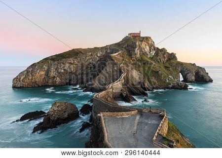 San Juan de Gaztelugatxe, its medieval stairs and bridge at sunrise, Basque Country, Spain