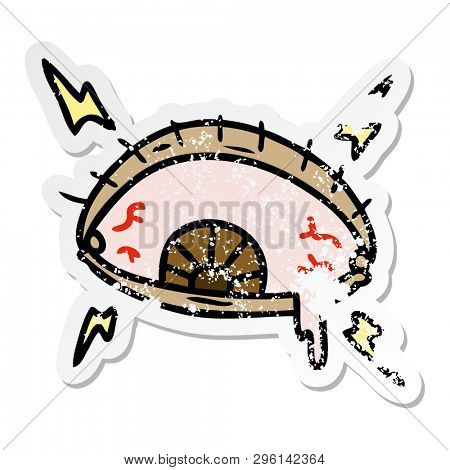 hand drawn distressed sticker cartoon doodle of an enraged eye poster