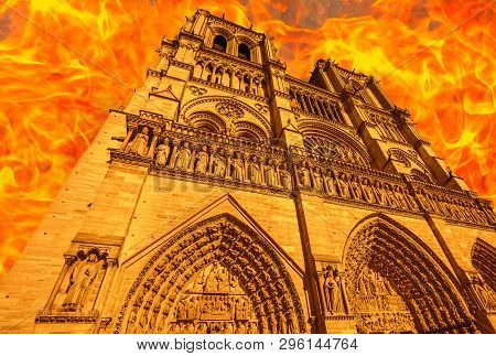 Composition Of The Fire In French Gothic Architecture Of Notre Dame Cathedral Of Paris, France In Ap