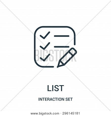 List Icon Isolated On White Background From Interaction Set Collection. List Icon Trendy And Modern