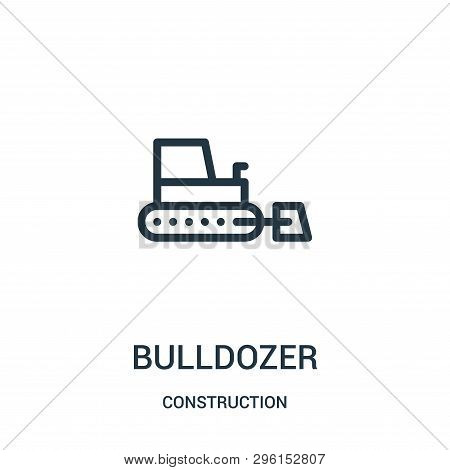 Bulldozer Icon Isolated On White Background From Construction Collection. Bulldozer Icon Trendy And