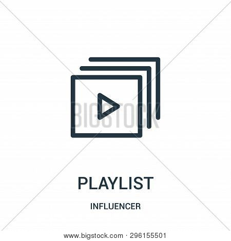 Playlist Icon Isolated On White Background From Influencer Collection. Playlist Icon Trendy And Mode