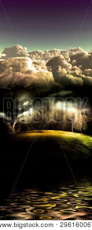 Tornado and lightnings in the green field. 3D rendering