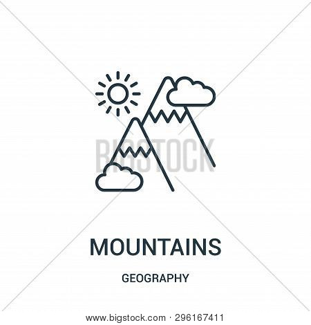 Mountains Icon Isolated On White Background From Geography Collection. Mountains Icon Trendy And Mod