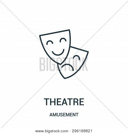 Theatre Icon Isolated On White Background From Amusement Collection. Theatre Icon Trendy And Modern