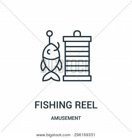 Fishing Reel Icon Isolated On White Background From Amusement Collection. Fishing Reel Icon Trendy A