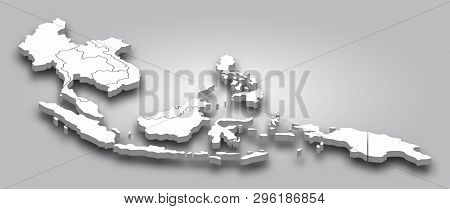 3d Map Southeast Asia With Perspective View On Gray Color Gradient Background . Vector .