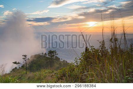 Phu Nom At Phu Langka National Park With Sunset And Fog On Sky. Phu Nom At Phu Langka National Park