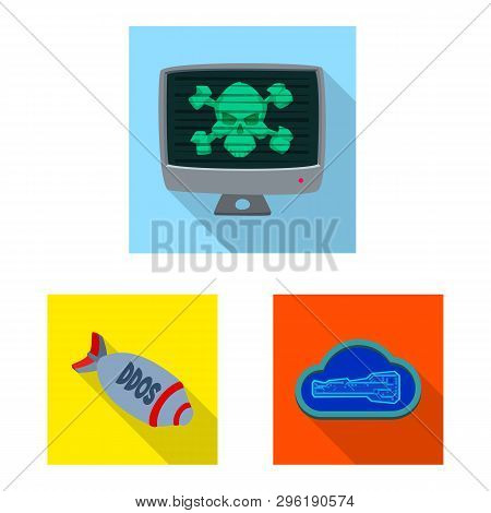 Isolated Object Of Virus And Secure Sign. Set Of Virus And Cyber Stock Symbol For Web.