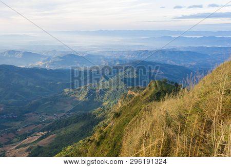 Phu Nom Landscape At Phu Langka National Park Phayao Thailand Travel. Phu Nom Landscape Wide Angle W